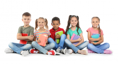 Group of little children with school supplies on white background